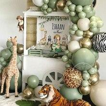 95pcs Avocado Green Balloon Garland Arch Kit Balloon Metallic Gold Globos Jungle Theme Baby Shower Kids Birthday Party Decor