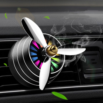 Car Air Freshener LED Light Conditioning Fan Alloy Auto Vent Outlet Perfume Clip Fresh Aromatherapy Fragrance Hot Car Decoration image
