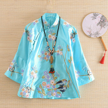 Embro Mill autumn Women jacket top Chinese Style Retro embroidery Magpie elegant Loose lady coat female S-2XL