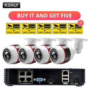 Image 1 - KERUI 4CH 4 ช่อง POE NVR 1080P Full HD WiFi IP กล้อง NVR เครื่องบันทึกวิดีโอชุดชุดความปลอดภัย ONVIF ระบบกล้องวงจรปิด