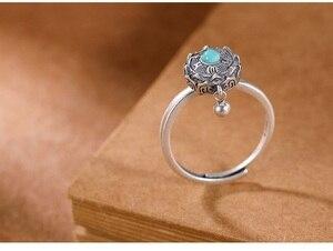 Image 5 - Handcrafted 100% 925 Silver Agate Tibetan Prayer Wheel Ring Buddhist OM Mantra Ring Good Luck Women Ring