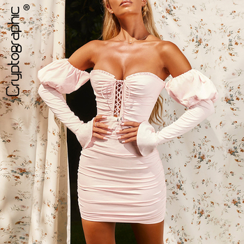 Cryptographic Off Shoulder Puff Sleeve Mini Dress Elegant Sexy backless Dress Ruched Club Party Fashion Lace Up Bandage Dresses striped lace trim off shoulder dress