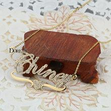 Doremi Stainlesss Custom Naam Kettingen Hanger Letters Ketting Voor Vrouwen Custom Chain Sieraden Kinderen Gepersonaliseerde Goud