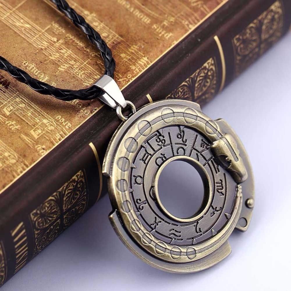Fashion Ouroboros Snake Rune Round Rope Leather Necklaces & Pendants