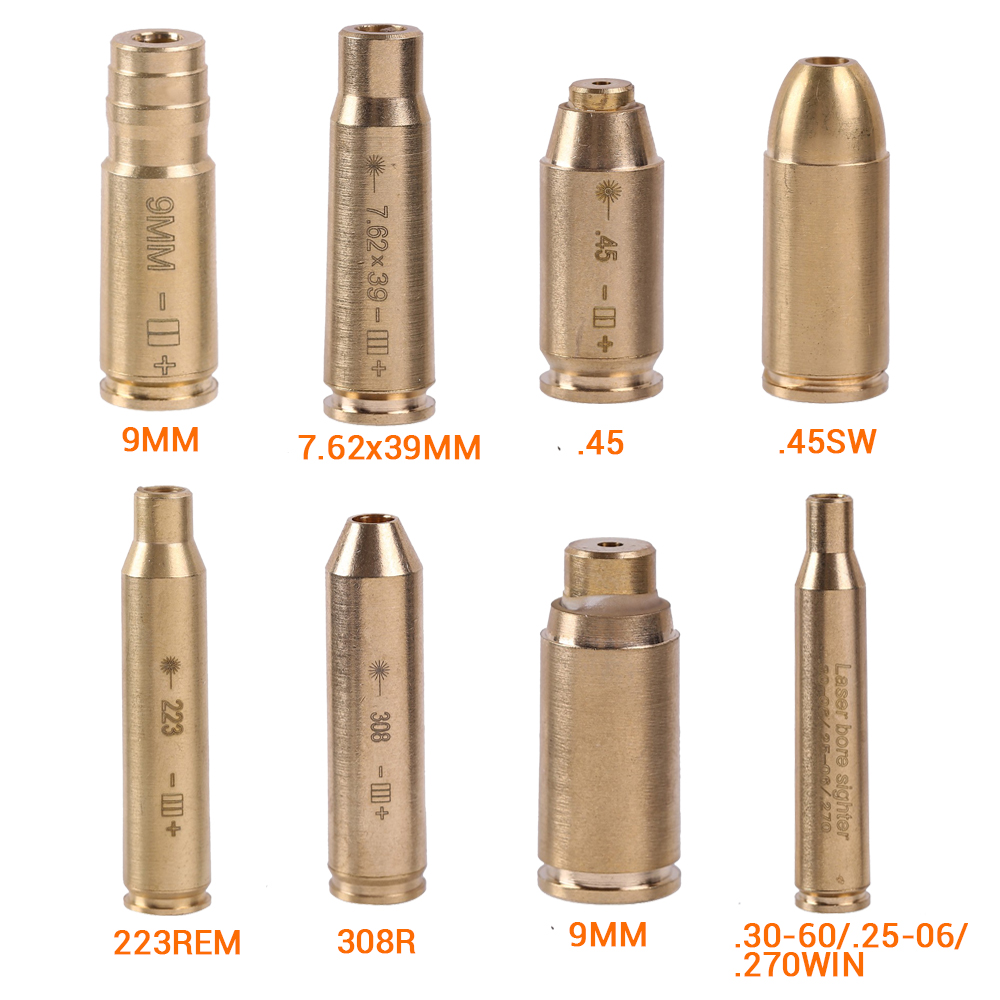 Tactical Red Dot Laser Boresighter Brass Copper Boresight CAL.308 .223 .40 .45 30-06 CAL 7.62x39 Cartridge Bore Sighter