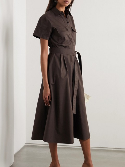 Safari Style Deep Coffee Dress  belted 1