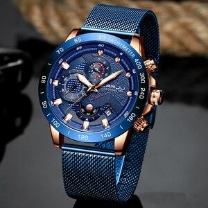 Image 5 - CRRJU Fashion Mens Watches Luxury WristWatch Quartz Clock Blue Watch Men Waterproof Sport Chronograph Relogio Masculino