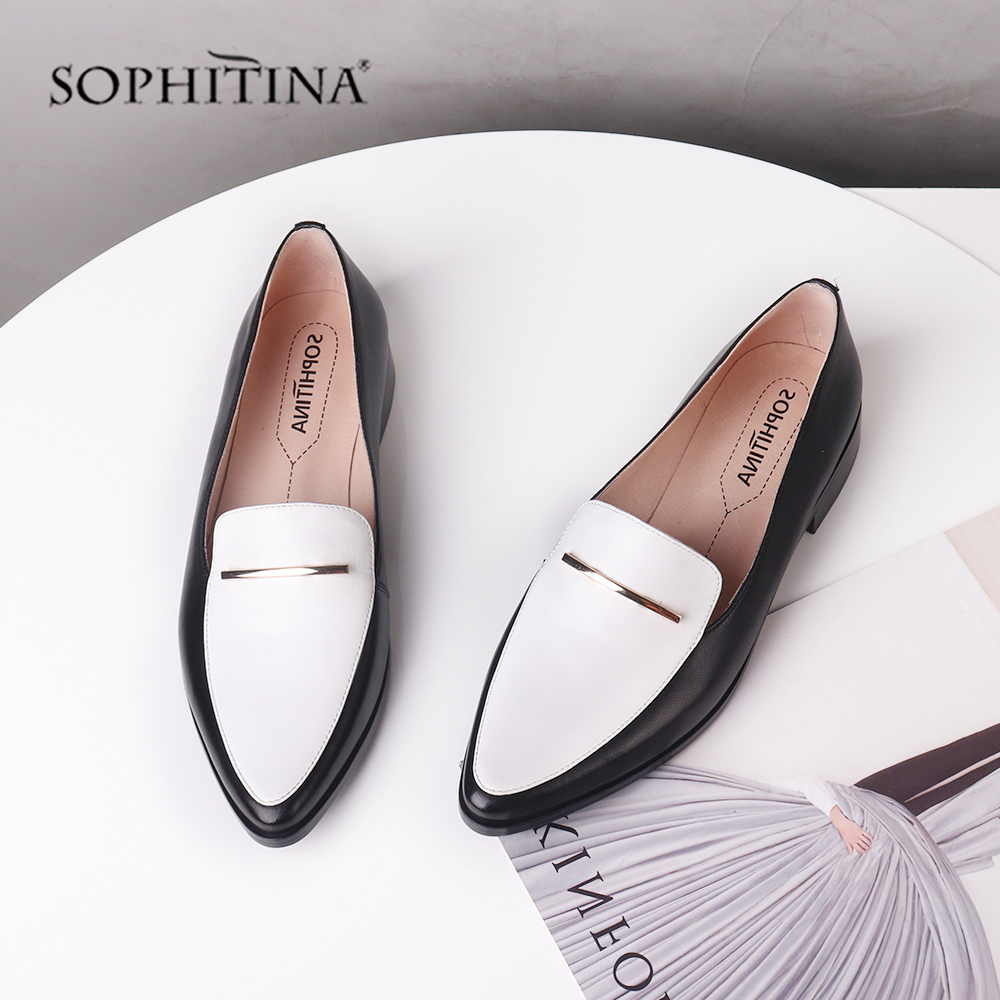 SOPHITINA Casual Women Flats Mixed Colors High Quality Sheepskin Metal Decoration Shallow Slip-On Shoes New Fashion Flats C460