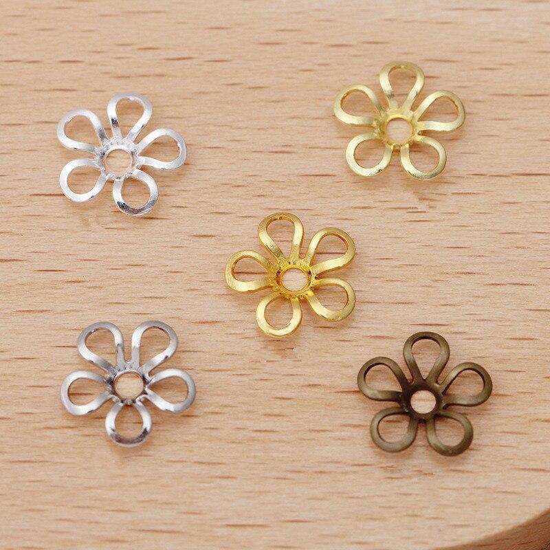 50 pçs/lote 9mm Prata Latão Banhado A Ouro Flor Bead Caps Encontrar A Granel End Cap Bead Para Fazer Jóias DIY Material 017