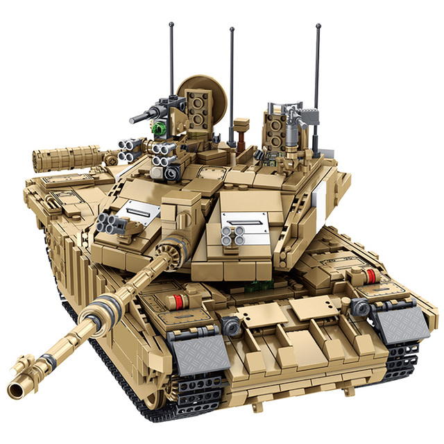 1687PCS Military Challenger 2 Main Battle Tank Model Building Blocks For WW2 Army Soldier Figures Bicks Toys For Boys