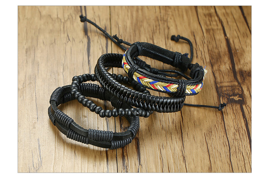 H53e240b332474cbb9660e33788d1aa9bm - Vnox 4Pcs/ Set Braided Wrap Leather Bracelets for Men Vintage Life Tree Rudder Charm Wood Beads Ethnic Tribal Wristbands