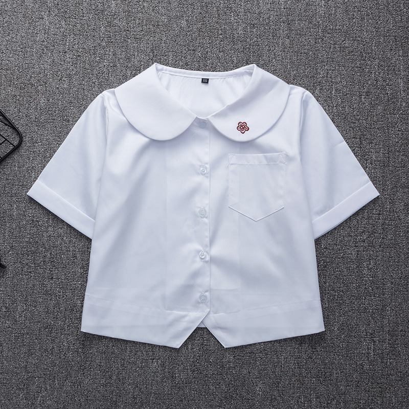 Japanese School Uniform For Girls Short Sleeve White Shirt School Dress Jk Sailor Suit Tops Plum Embroidery Cute Work Uniforms