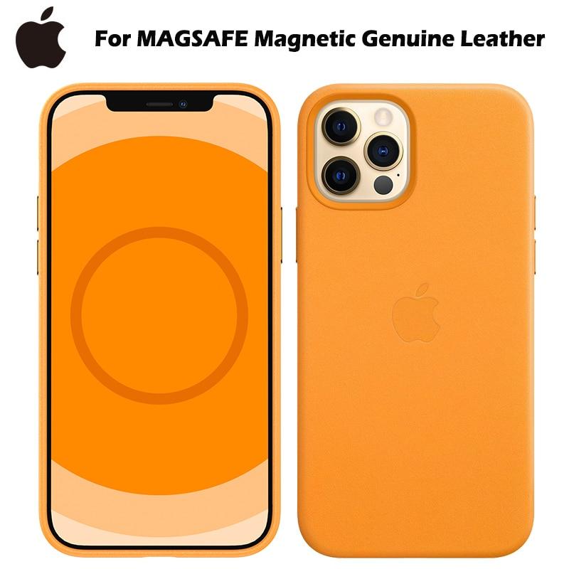 Оригинальный чехол для Apple Magsafe Магнитный чехол из натуральной кожи для iPhone 12 Pro Max 12 Mini 12 P противоударный Роскошный телефон зарядное устройс...