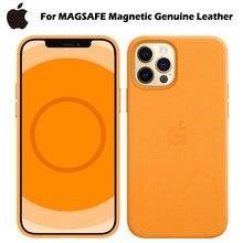 Original para apple magsafe magnético caso de couro genuíno para o iphone 12 pro max 12 mini 12 p à prova de choque de luxo telefone carregador capa