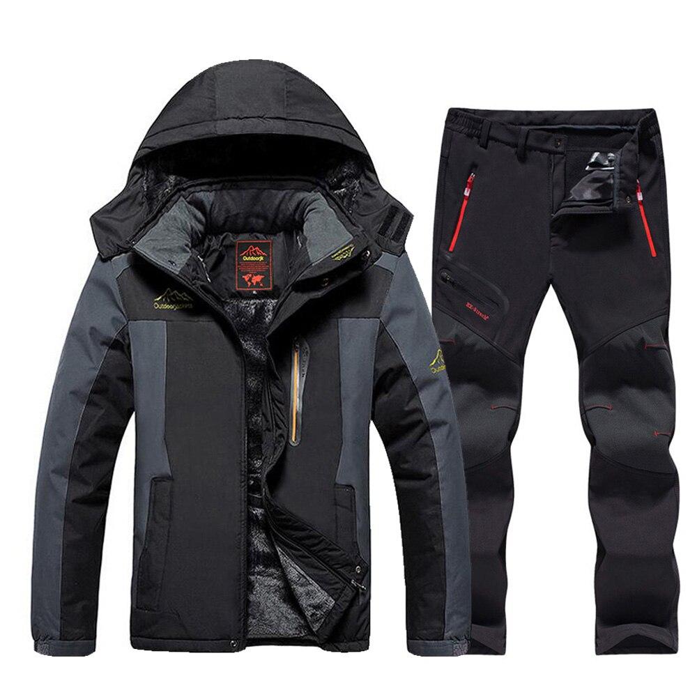 Новинка 2020, мужской лыжный костюм, брендовый ветрозащитный водонепроницаемый плотный теплый зимний пиджак и брюки для катания на лыжах и сн...