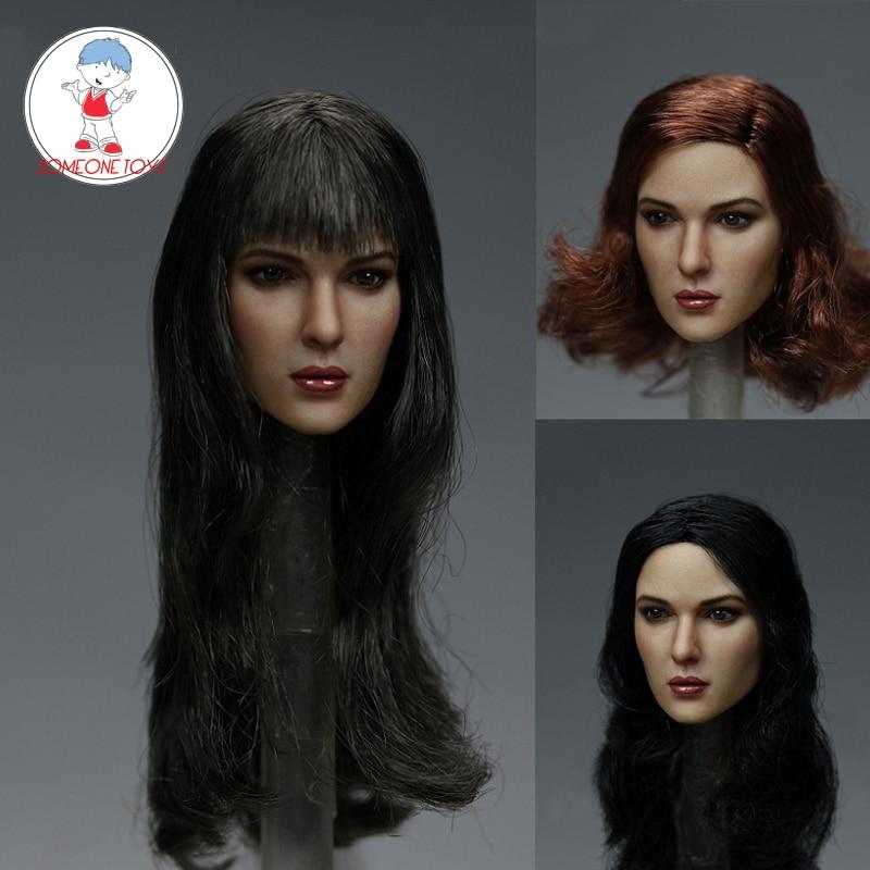 1//6 KIMI TOYS Brown Hair Head Model European Female Action Figure Head Carving
