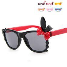 Детские солнцезащитные очки с бантиком и заячьими ушками прозрачные