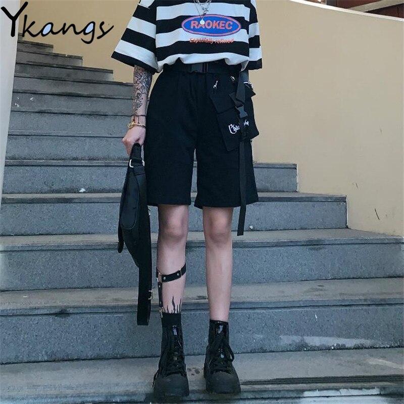 Streetwear Korean Harajuku Cargo Shorts Multi-Pocket Sport Shorts Women Summer Shorts for Women Running Capris Female Unisex