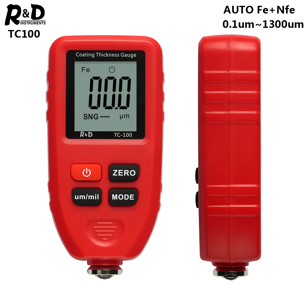 R&D TC100 Red Coating Thickness Gauge 0.1um/0-1300 Car Paint Film Thickness Tester Measuring FE/NFE Russian Manual Paint Tool