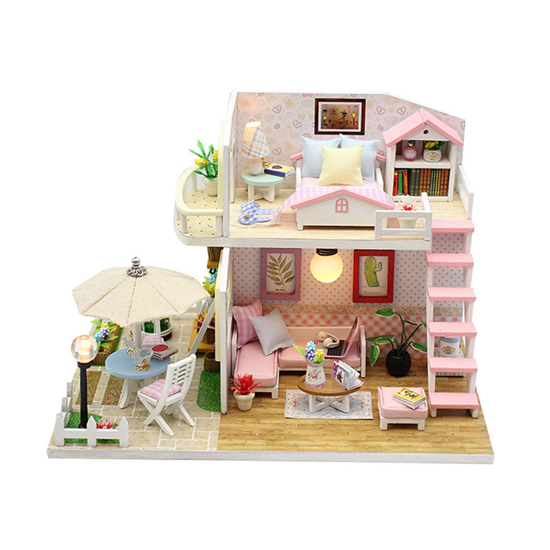 DIY DollHouse Miniature de furniture Dollhouse 3D Model Wooden Toy Furnitures Casa De Boneca Dolls Home Attic Crafts Toys Gift