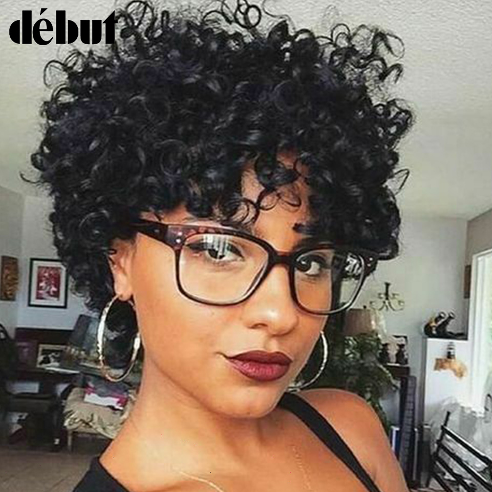 Debut Short Curly Real Human Hair Wigs 100% Raw Indian Natural Hair Wigs For Mom Refreshing Breathable T1B/30 Cheap Colored Wigs