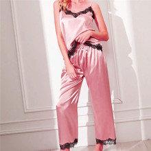 Womens Ladies Satin Pyjama Set Silky Summer Spaghetti Strap Lace Patchwork Loung