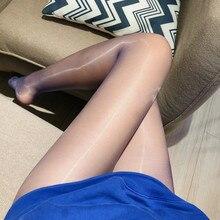 Seda oleosa sexy meia-calça meias ultra fino e brilhante virilha aberta feminino vermelho 919