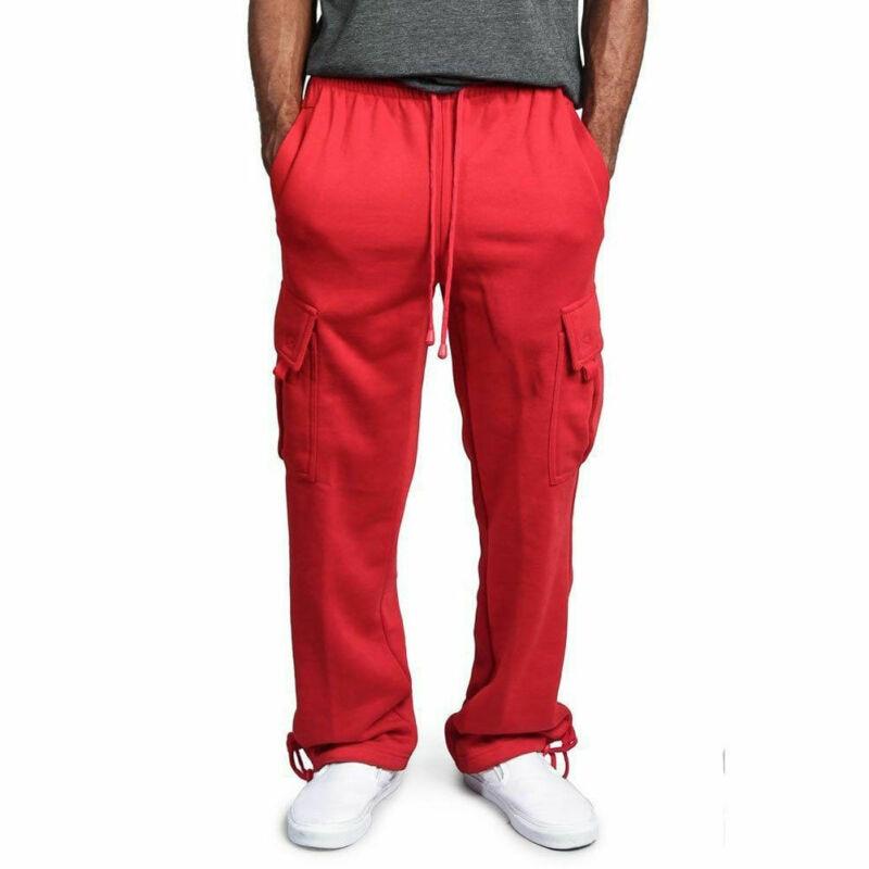 2020 Fashion Casual Men's Sweatpants New Jogger Heavy Weight Fleece Cargo Pocket Black Red Pants