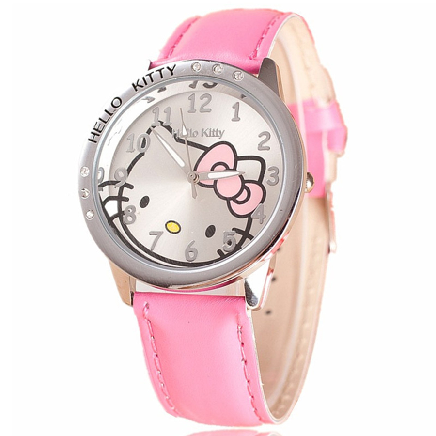 Hello Kitty Fahion Watches Girls Children Cartoon Cute Quartz Watch Multi Colors Leather  Kids Watches Mujer Relojes