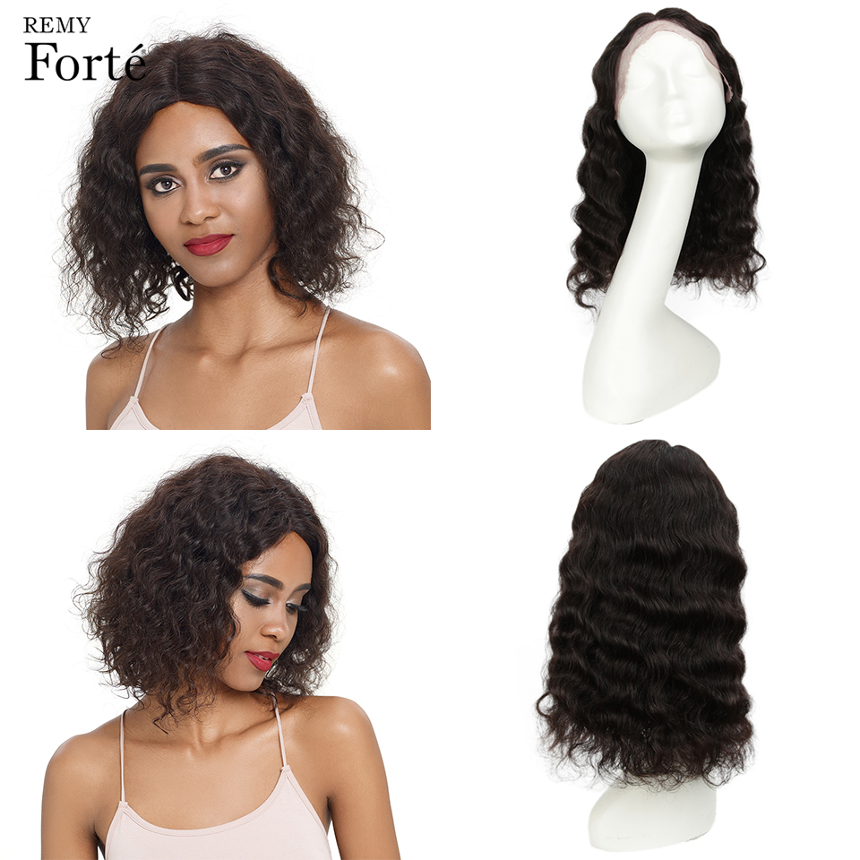 Remy Forte Lace Front Human Hair Wigs Curly Short Human Hair Wig 100% Remy Indian Hair Wigs Curly Lace Front Wig U Part Lace Wig