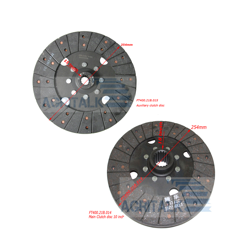 Set Of Clutch Plates For Foton Lovol/Luzhong FT404/FT454/LZT454 With 10 Inch Dual Clutpart Number: FT400.21B.014 +FT400.21B.015
