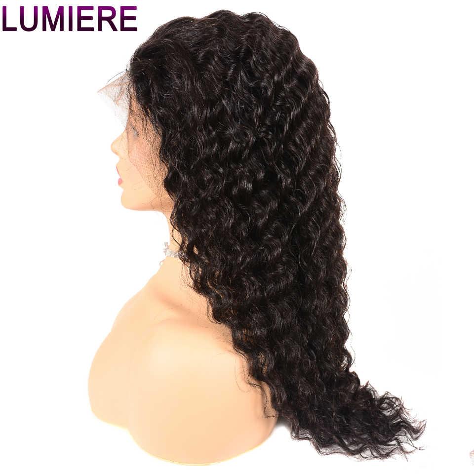 Lumiere cabelo 360 peruca frontal do laço pré arrancado com o cabelo do bebê peruca de onda profunda malaia não remy 100% perucas de cabelo humano para a mulher 1b