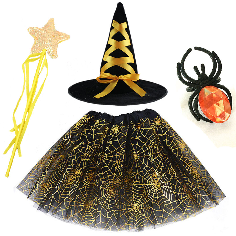 Spider Web Tutu Cobweb Skirt Witch Wizard Hat Rings Magic Wands Suit Party Outfits Carnival Halloween Costume for Kids Girls