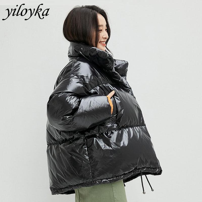 New Winter Loose Snowproof   Parka   Down Glossy Waterproof Coat Fashion Winter Jacket Coat Women Stand Collar Casual Warm Overcoat