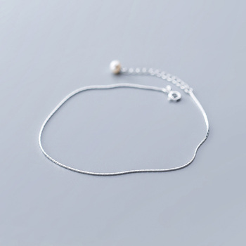 Trustdavis 100% 925 Sterling Silver Snake Chain Artificial Pearls Anklets For Women Fashion Silver 925 Jewelry Wholesale DA387 5
