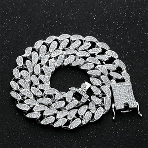 Image 5 - Hip Hop Miami Curb Cuban Chain Necklace 2cm Gold Silver Color Iced Out Paved Rhinestones CZ Bling Rapper Necklaces Men Jewelry