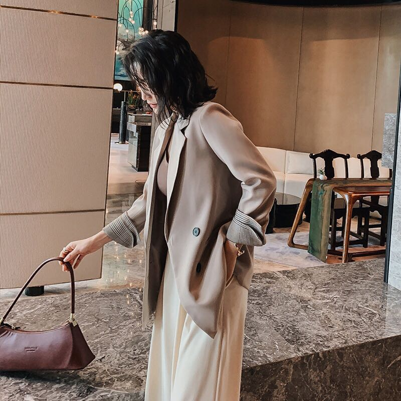 2020 spring and autumn new small suit solid color suit jacket women fashion casual wild retro female jacket