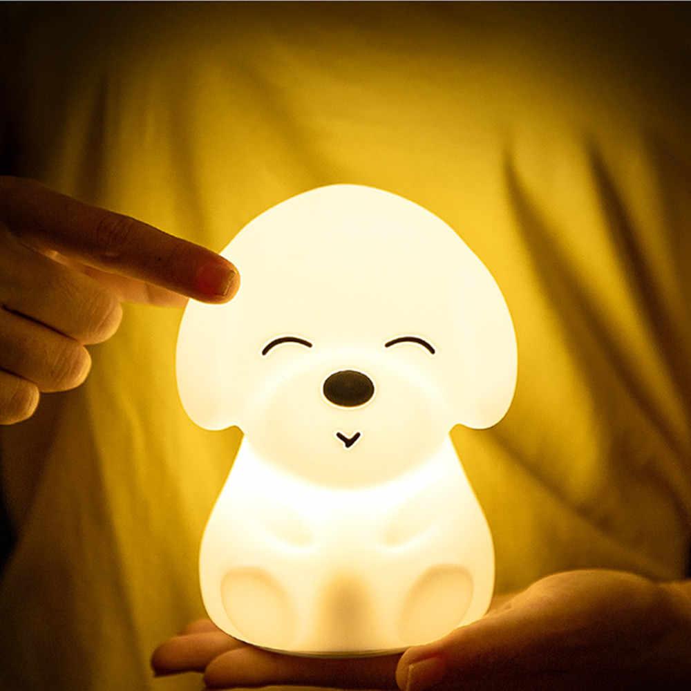 LED Light Silicone Dog Puppy Touch Sensor USB Kids Children Bedroom Lamp
