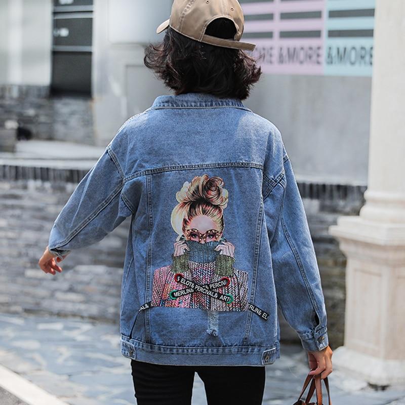 Jvcake Plus Size Women's Loose Denim Jacket Thin Section Fashion Decal Embroidery Pattern Lapel Blue 2020 Summer Denim Coat 3XL