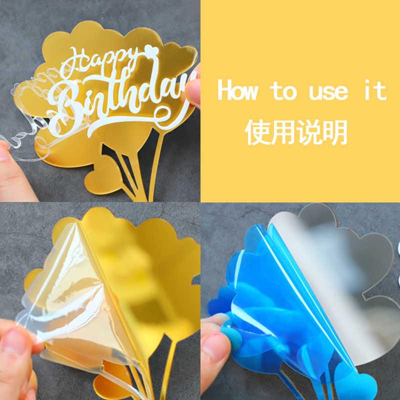 """Gancho redondo de acrílico, dourado """"oh bebê"""" feliz aniversário """"para decoração de festa suprimentos de cozimento de crianças presentes de aniversário do amor"""