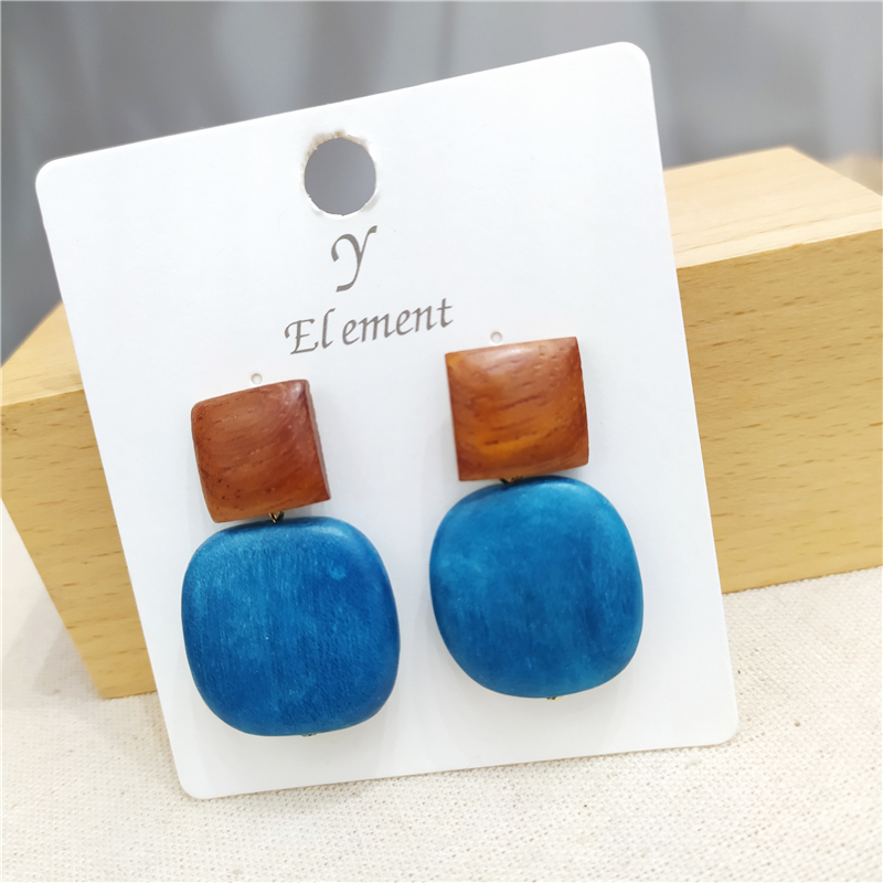 Купить с кэшбэком Y-e New Luxury Big Round/square Wood Earrings 2020 Fashion Korean Dangle Drop Earrings For Women Party Gift Jewelry Earring