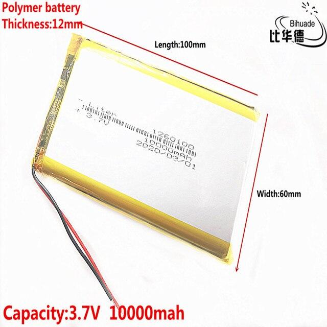 1/2/5/10 ชิ้น/ล็อตคุณภาพดี 3.7V,10000 mAh,1260100 Polymer LITHIUM Ion/Li Ion แบตเตอรี่สำหรับของเล่น,POWER BANK,GPS,