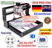 DE Free VAT 3018 PRO CNC Laser Engraver Wood CNC Router Machine GRBL ER11 Hobby DIY Engraving Machine for Wood PCB PVC Mini CNC