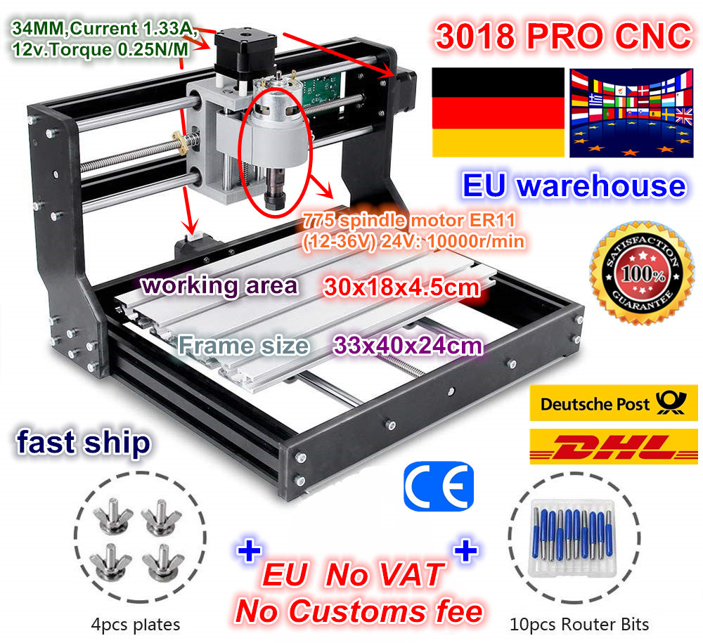DE Free VAT CNC 3018 PRO Laser Engraver Wood CNC Router Machine GRBL ER11 Hobby DIY Engraving Machine For Wood PCB PVC Mini CNC