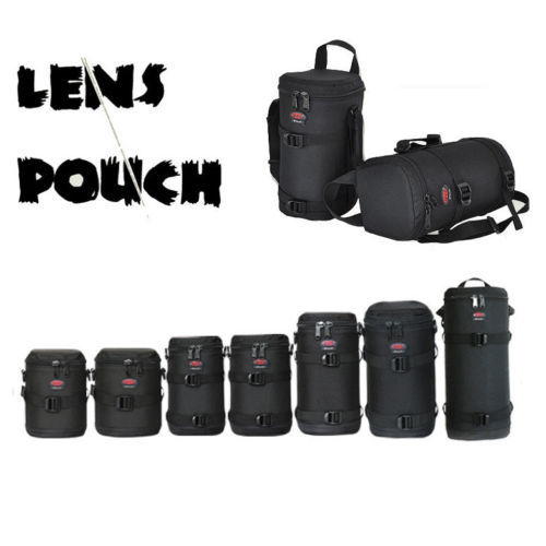 Thick strong Nylon Padded Camera Waterproof Lens Pouch Bag Protect Case  belt for Canon Nikon SONY Sigma Lenses