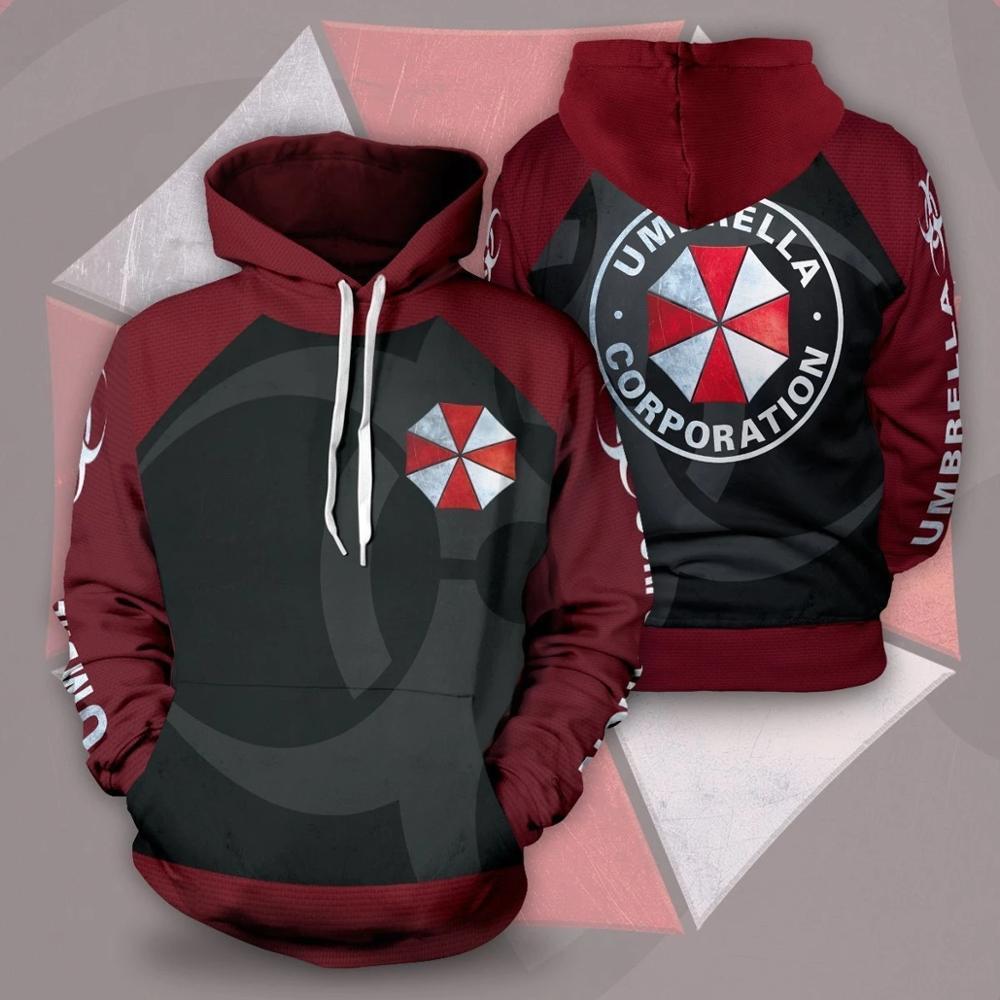 2021 Fashion Men Basic Sweatshirts Funny Design Residented Evil Zombie Game  Pullover Streetwear Print Cotton Zipper Hoody Tops