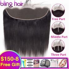 Bling Hair pelo humano liso brasileño cierre Frontal de malla 13x4, cierre de oreja a oreja en medio/Libre/tres partes, Color Natural Remy