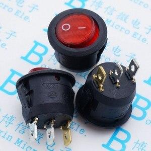 10 шт./лот KCD1-105 20 мм красный кулисный переключатель круглый Кулисный переключатель выключатель питания 6А/250В 10А/125В