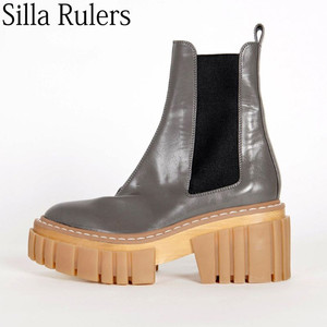New Thick Sole Ankle Boots Women Genuine Leather Round Toe Chelsea Boots Woman Runway High Platform Motorcycle Boots Woman