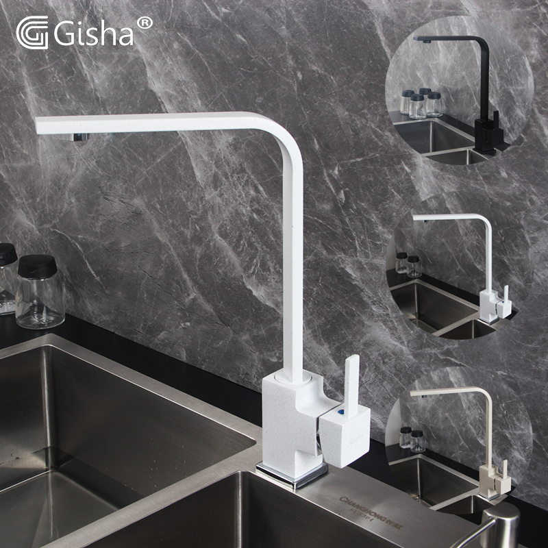 Gisha Brass Kitchen Sink Faucet 360 Degree Swivel Kitchen Tap White  Kitchen Cold And Hot Water Mixer Tap Torneira G2034